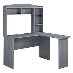 Techni Mobili Modern L-Shaped Desk with Hutch in Grey