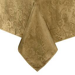 Elrene Poinsettia Elegance 52-Inch x 52-Inch Tablecloth in Gold