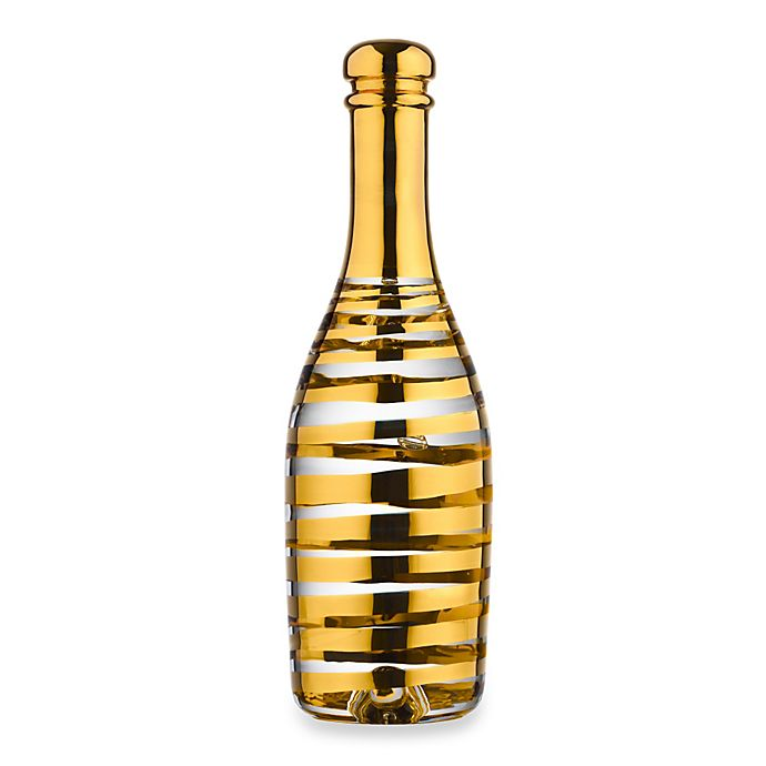 Alternate image 1 for Kosta Boda Celebrate Champagne Bottle Figurine in Gold