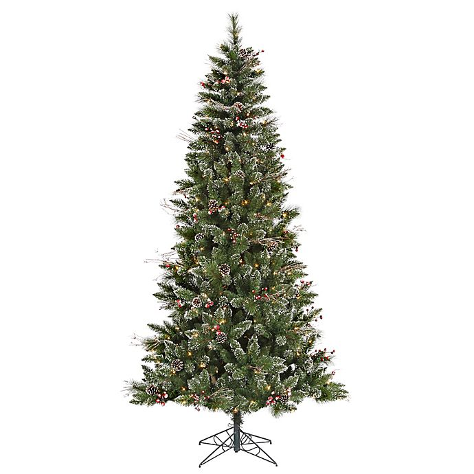 Vickerman 7 Foot Snow Tipped Pine Berry Pre Lit Christmas Tree With