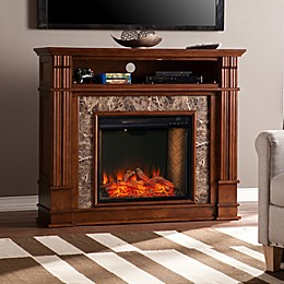 Southern Enterprises© Highgate Faux Stone Media Stand Electric Fireplace