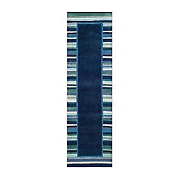 Martha Stewart by Safavieh 2'3 x 8' Striped Border Runner in Navy