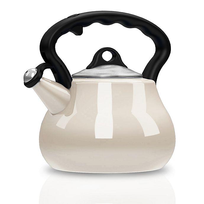 Alternate image 1 for Remedy® Lovely Lady 2-Quart Porcelain Enamel Tea Kettle in Pearl