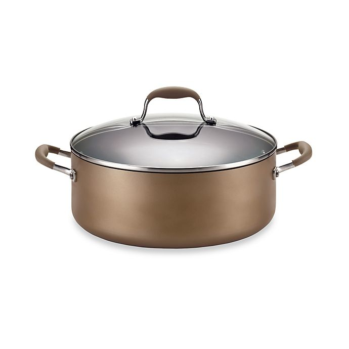 Alternate image 1 for Anolon® Advanced Bronze Hard Anodized Nonstick 7 1/2 qt. Covered Wide Stock Pot