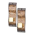 Kingsway Rich Mixed Metallic Mosaic Waved Wall Sconces (Set of 2)