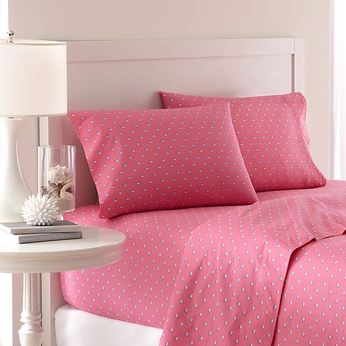 Alternate image 1 for Southern Tide® Skipjack 200 Thread Count King Sheet Set in Sunset Pink