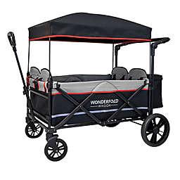 WonderFold Wagon X4 Push and Pull Quad Stroller Wagon in Black