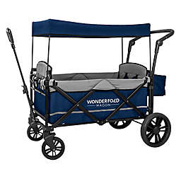 WonderFold Wagon X2 Double Stroller Wagon in Navy