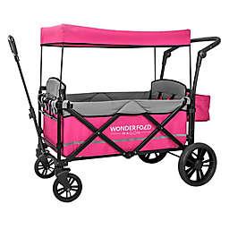 WonderFold Wagon X2 Double Stroller Wagon in Pink