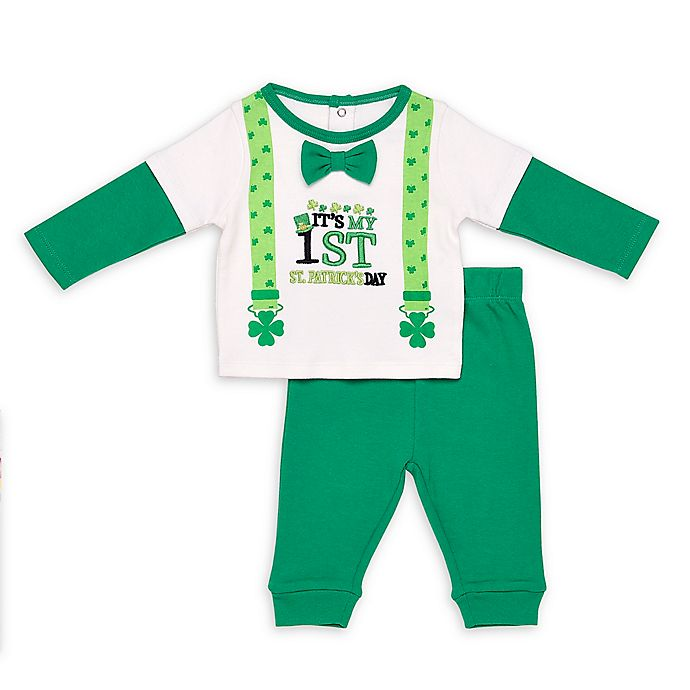 Alternate image 1 for Baby Starters® 2-Piece St. Patrick's Day Suspenders Shirt and Pant Set