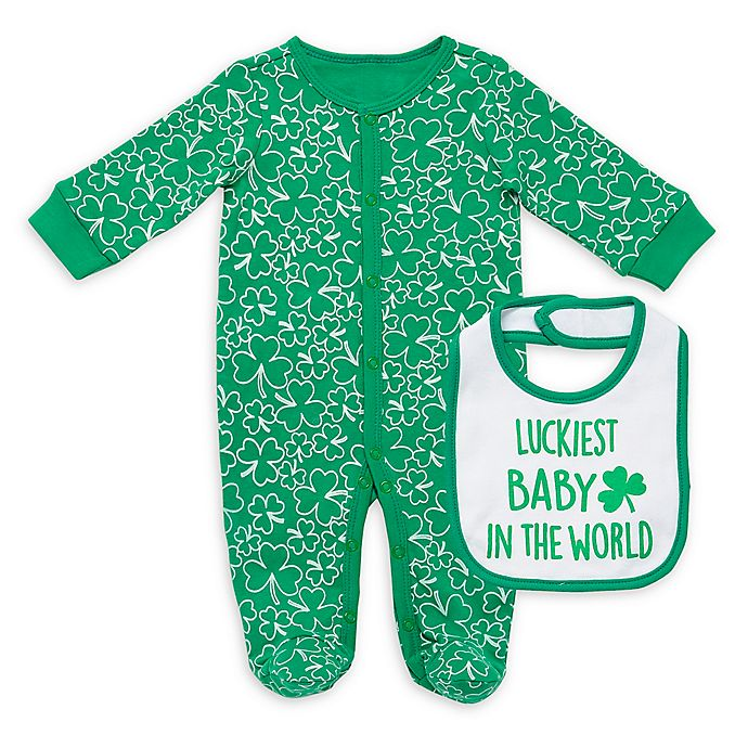 Alternate image 1 for Baby Starters® 2-Piece Lucky Baby Footie and Bib Set in Green