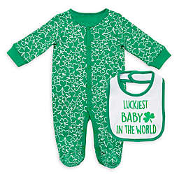 Baby Starters® 2-Piece Lucky Baby Footie and Bib Set in Green
