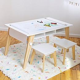 Wildkin 3-Piece Arts & Crafts Table & Stools Set in White