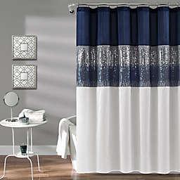 Lush Decor Night Sky Shower Curtain in White/Navy