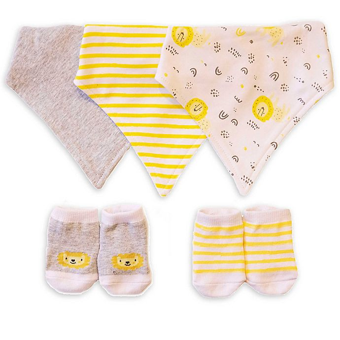Alternate image 1 for Sterling Baby Lions Bandana Bib and Bootie Set