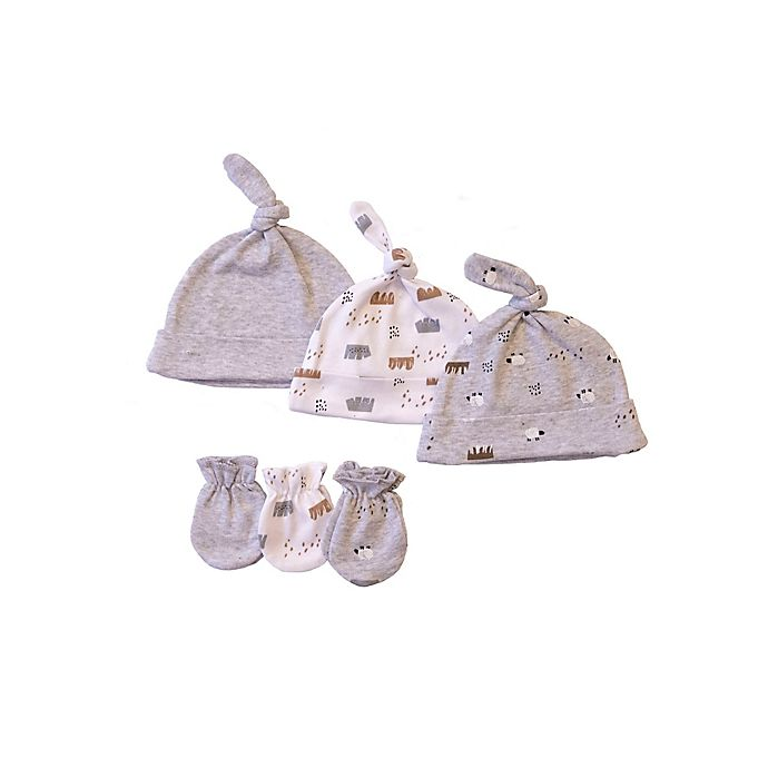 Alternate image 1 for Sterling Baby 6-Piece Lambs Hat and Mitten Set