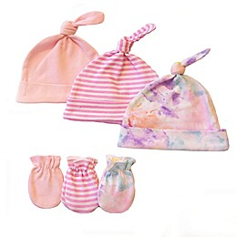 Sterling Baby 6-Piece Watercolors Hat and Mitten Set in Pink
