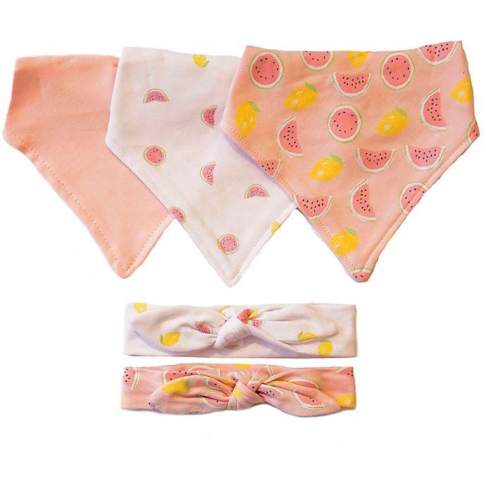Alternate image 1 for Sterling Baby Watermelon and Lemon Bandana Bib and Headband Set in Pink/White