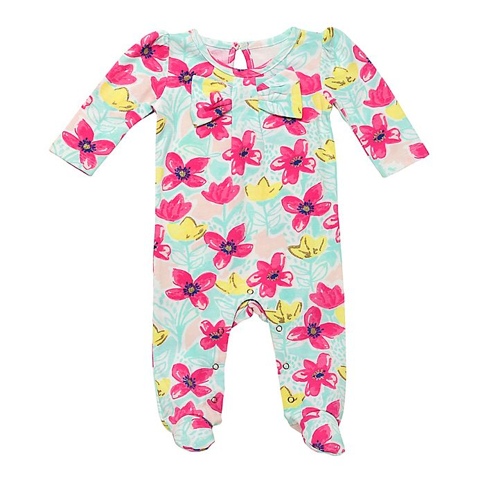 Alternate image 1 for Baby Starters® Bright Floral Footie in Pink