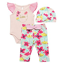 Baby Starters® 3-Piece Spring Awakening Bodysuit, Pant and Hat Set in Pink