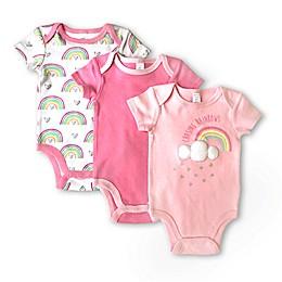 Modern Baby 3-Pack Rainbows Bodysuits in Pink