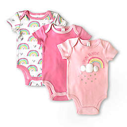 Modern Baby 3-Pack Rainbows Bodysuits in Pink