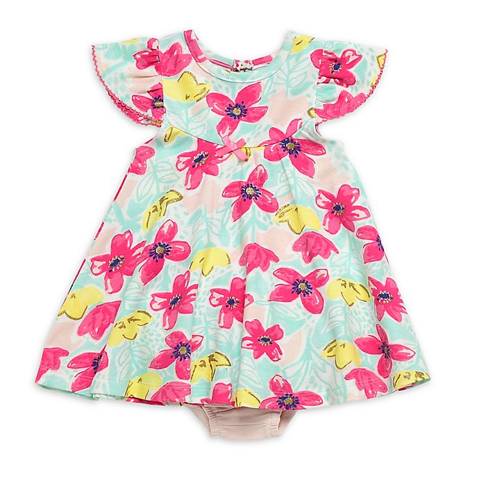 Alternate image 1 for Baby Starters® 2-Piece Bright Floral Dress and Diaper Pant in Pink