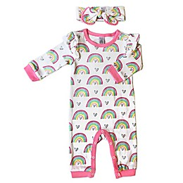Modern Baby 2-Piece Rainbows Coverall and Bow Headband Set