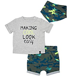 Mini Heroes™ 3-Piece Cool Camo Short, Top and Bandana Set in Grey