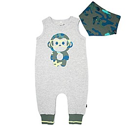 Mini Heroes™ 2-Piece Camo Monkey Romper and Bandana Set in Grey