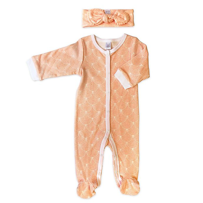 Alternate image 1 for Modern Baby 2-Piece Sheashells Footie and Headband Set in Peach
