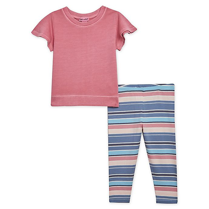 Alternate image 1 for Splendid® 2-Piece Striped Shirt and Legging Set in Pink