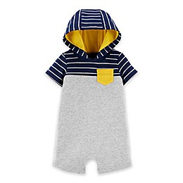 carter's® Striped Hooded Short-Sleeve Romper in Heather