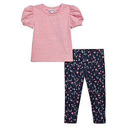 Splendid® 2-Piece Ruched Shoulder Top and Floral Legging Set in Pink