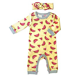 Modern Baby 2-Piece Watermelon Coverall and Headband Set in Yellow