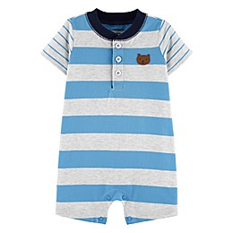 carter's® Striped Bear Jersey Romper in Blue/Cream