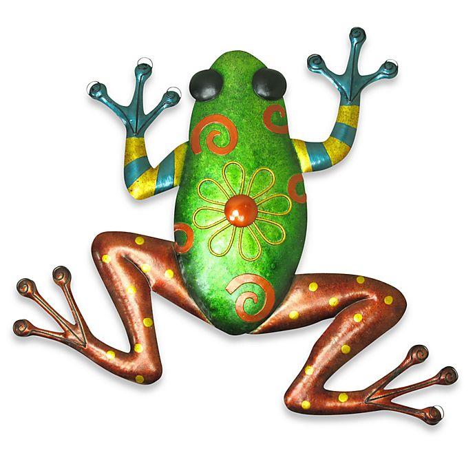 Indoor/Outdoor Metallic Green Frog Metal Wall Art   Bed ...