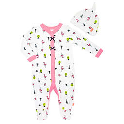 Mini Heroes™ Flamingo 2-Piece Footie and Cap Set in White