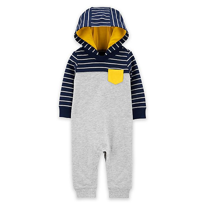 Alternate image 1 for carter's® Stripes and Solids Hooded Coverall
