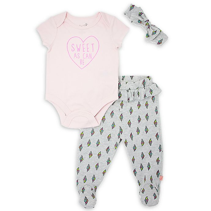 Alternate image 1 for Mini Heroes™ 3-Piece Sweet Ice Cream Bodysuit, Pant and Headband Set in Pink