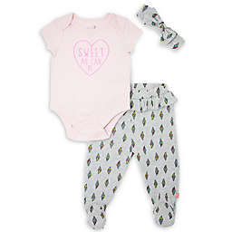Mini Heroes™ Size 3M 3-Piece Sweet Ice Cream Bodysuit, Pant and Headband Set in Pink