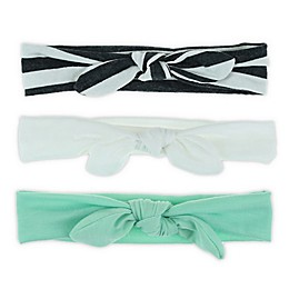 Capelli New York 3-Pack Knot Bow Headbands in Teal/White/Grey