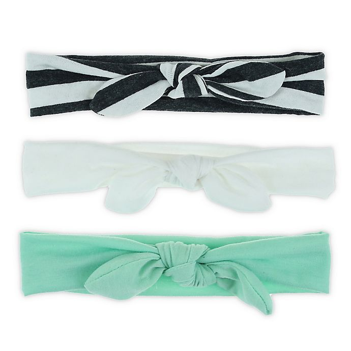 Alternate image 1 for Capelli New York 3-Pack Knot Bow Headbands in Teal/White/Grey