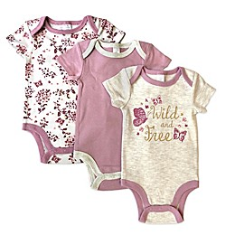 Modern Baby 3-Pack Wild and Free Bodysuits in Mauve