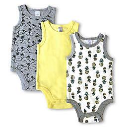Modern Baby 3-Pack Pineapple Sleeveless Bodysuits in Grey/Yellow