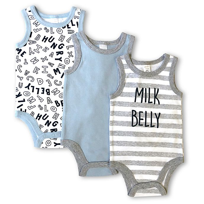 Alternate image 1 for Modern Baby 3-Pack Milk Belly Sleeveless Bodysuits in Grey/Blue