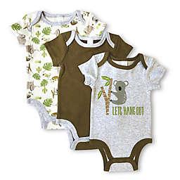 Modern Baby 3-Pack Koala Short Sleeve Bodysuits in Grey/Cream
