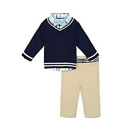 Beetle & Thread® Size 0-3M 4-Piece Sweater, Shirt, Pant and Bow Tie Set in Navy/Khaki
