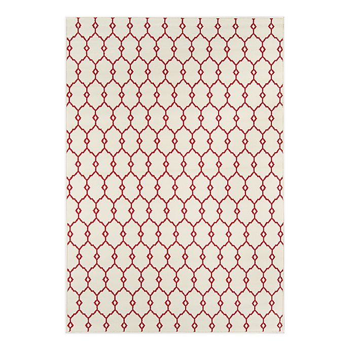 Alternate image 1 for Momeni Baja Trellis 2'3 x 4'6 Indoor/Outdoor Accent Rug in Ivory
