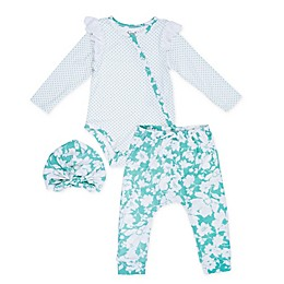 Jessica Simpson 3-Piece Bodysuit, Pant, and Hat Set in Ivory/Green